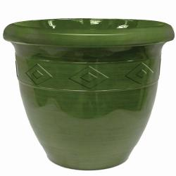Garden Odyssey 20-inch Green Glazed Double Rim Brush Stroke Planter