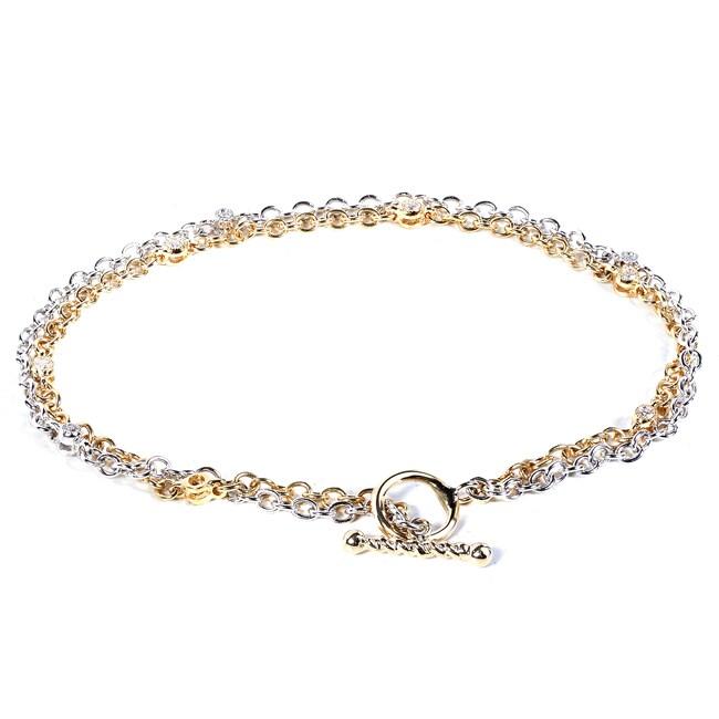 14k Two-tone Gold 1/10ct TDW Diamond Bracelet (G-H, SI1-SI2)