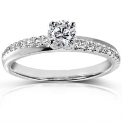 14k White Gold 3/5 ct TDW Certified Diamond Engagement Ring (F-G, I1)