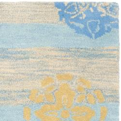 Handmade Eternity Blue New Zealand Wool Rug (2' x 3')