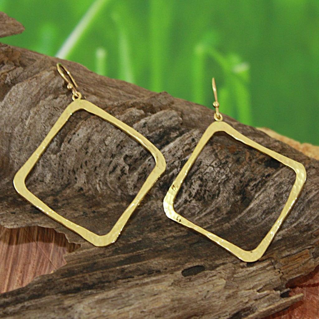 Hammered Tumbaga Wavy Square Dangle Earrings (Mexico)