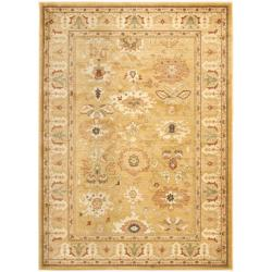 Oushak Gold/ Gold Powerloomed Rug (5'3 x 7'6)