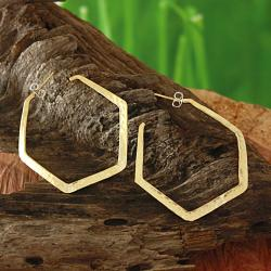 Hammered Tumbaga Wavy Hexagon Earrings (Mexico)