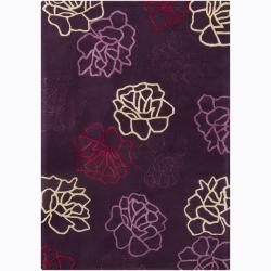 Hand-Tufted Mandara Purple-and-Red Wool Rug (5' x 7')