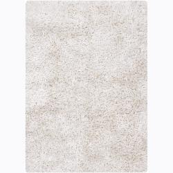 Handwoven Mandara Contemporary White Shag Rug (9' x 13')