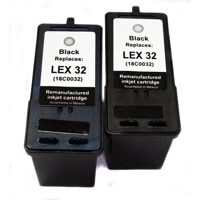 Lexmark 32 Black Ink Cartridge (Remanufactured ) (Pack of 2)