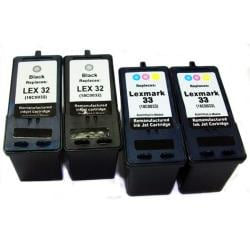 Lexmark 32/33 Black/ Tri-color Ink Cartridge (Remanufactured) (Pack of 4)