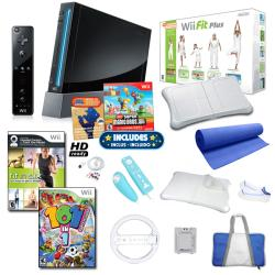 Wii -  Black Super Mario Bundle with Wii Fit Plus and More