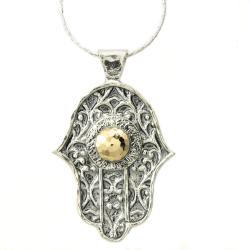 Beverly Hills Charm Silver and 14k Gold 'Hamsa' Necklace