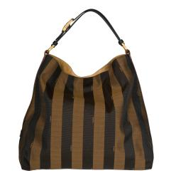 Fendi Striped Canvas Hobo Bag