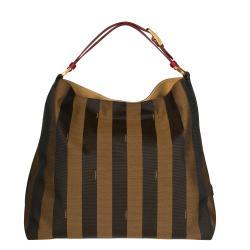Fendi Striped Canvas Hobo Bag