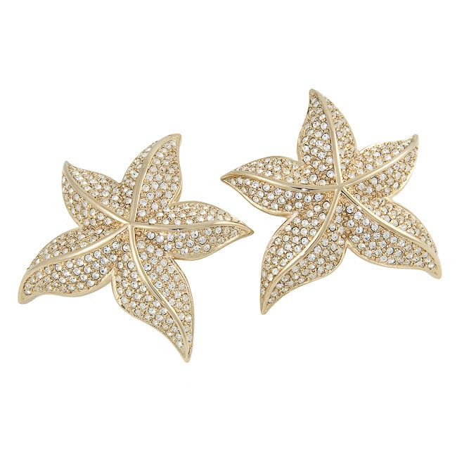 Michelle Monroe Tungsten Clear Crystal Starfish Earrings