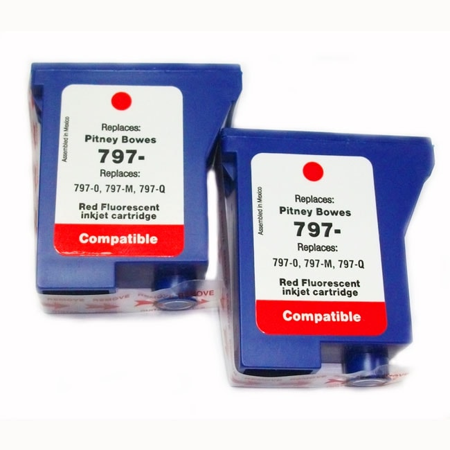 Pitney Bowes Compatible 797-0 Red Flourescent Ink (Pack of 2)