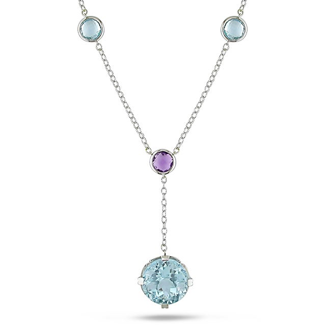 Miadora 18k White Gold Blue Topaz and Amethyst Chain Necklace