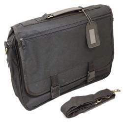 Toppers Black Lightweight Flapover Portfolio Briefcase