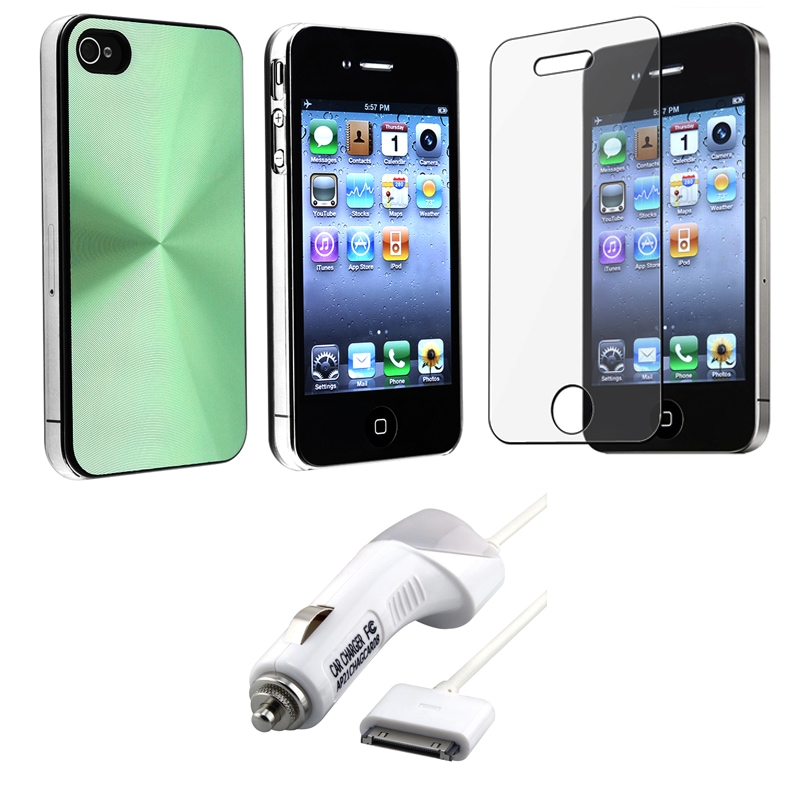 Green Case/ Screen Protector/ Car Charger for Apple iPhone 4S