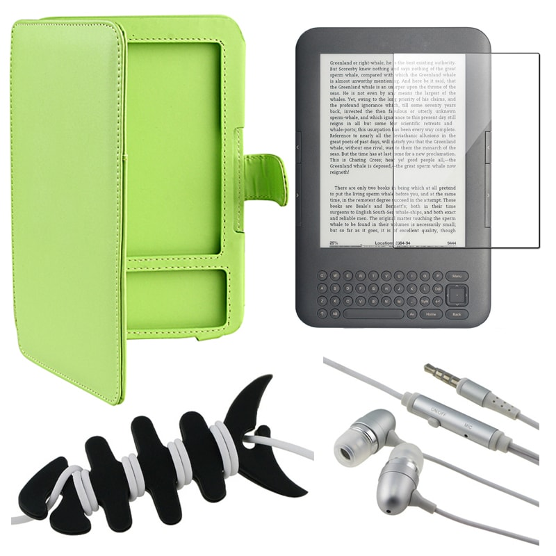 Leather Case/ Screen Protector/ Headset/ Wrap for Amazon Kindle 3