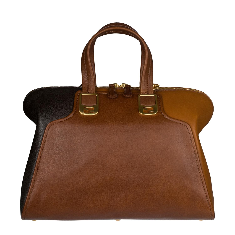 Fendi 'Chameleon' Brown/ Camel Tri-tone Leather Tote Bag