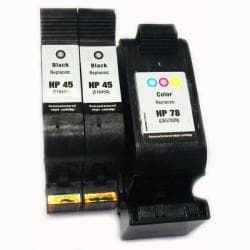 HP 45-78 2-BK and 1-color Ink Cartridge 3-pack (Remanufactured)