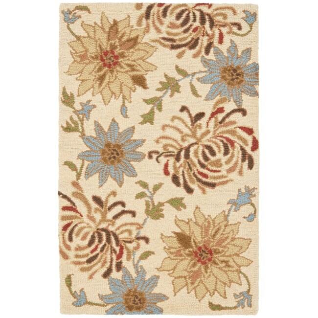 Safavieh Handmade Blossom Beige Wool Rug (2'6 x 4')
