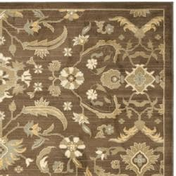 Oushak Brown/ Green Powerloomed Rug (6'7 x 9'1)