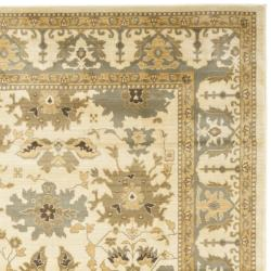 Oushak Cream/ Blue Powerloomed Rug (9'6 x 13')