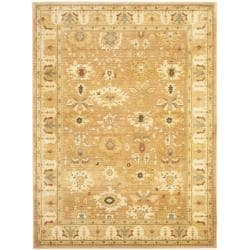 Oushak Light Brown/ Gold Powerloomed Rug (9'6 x 13')