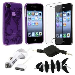 Purple Case/ LCD Protector/ Charger/ Headset/ Wrap for Apple iPhone 4S