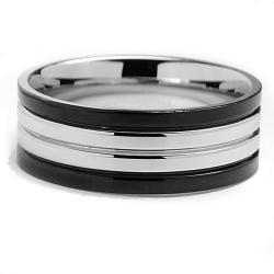 Stainless Steel Men's Two-tone Wedding Band Ring (8 mm)