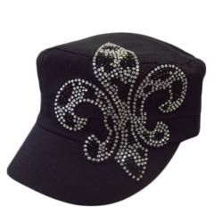 Downtown Women&#39;s Rhinestone Fleur De Lis Military Cap