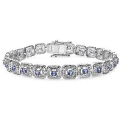 Malaika Sterling Silver Genuine Tanzanite Bracelet