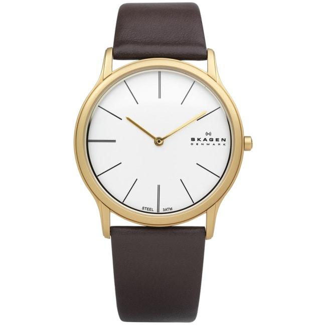 Skagen Men's Steel Super Slim Brown Watch