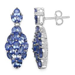 Malaika Sterling Silver Tanzanite Cluster Earrings (3 1/5ct TGW)