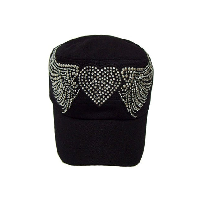 Downtown Women's Military Rhinestone Heart and Wings Cap