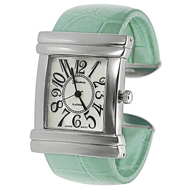 Geneva Platinum Women's Croc Skin Stamped Vinyl Cuff Watch