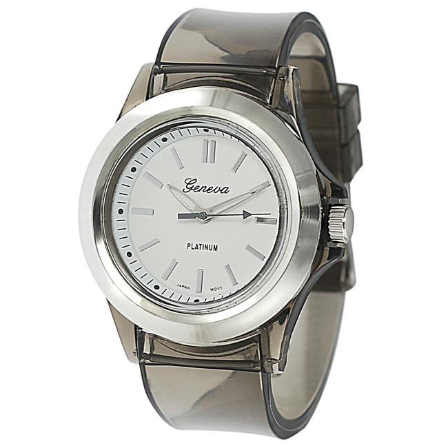 Geneva Platinum Women's Black Translucent Watch