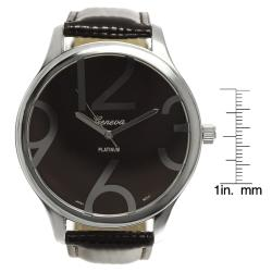 Geneva Platinum Women's Brown Simulated Patent Leather Watch