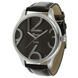 Geneva Platinum Women's Brown Simulated Patent Leather Watch
