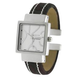 Geneva Platinum Women's White Stitch Cuff Watch