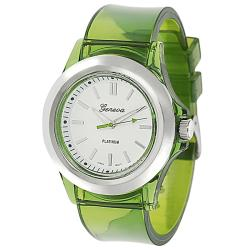 Geneva Platinum Women's Green Translucent Watch