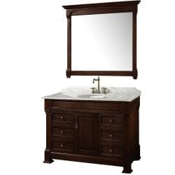 Wyndham Collection Andover Dark Cherry 48-Inch Solid Oak Bathroom Vanity