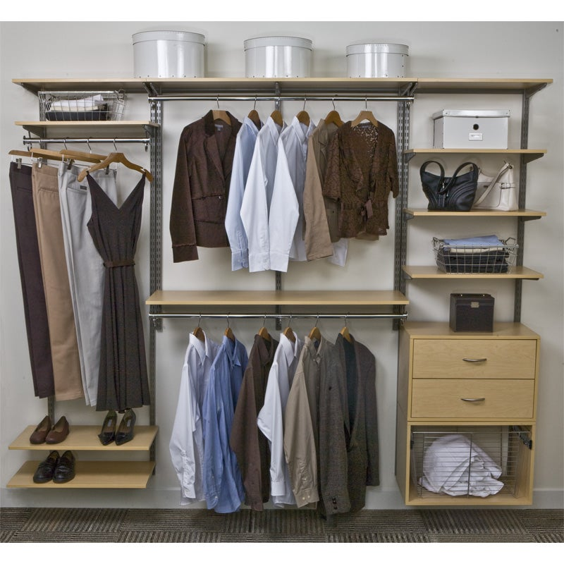 Organized Living freedomRail 8-Foot Maple Wood Closet Kit