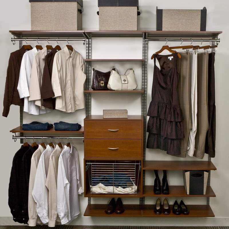 Organized Living freedomRail 7-foot Cherry Wood Closet Kit