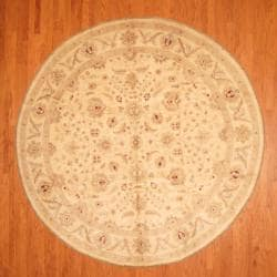 Afghan Hand-knotted Vegetable Dye Ivory Wool Rug (10' Round)
