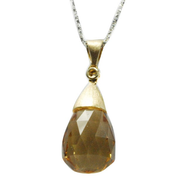 De Buman 18k Yellow Gold Citrine and Diamond Accent Necklace