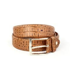 Faddism Men's Crocodile Embossed Tan Belt (Medium)