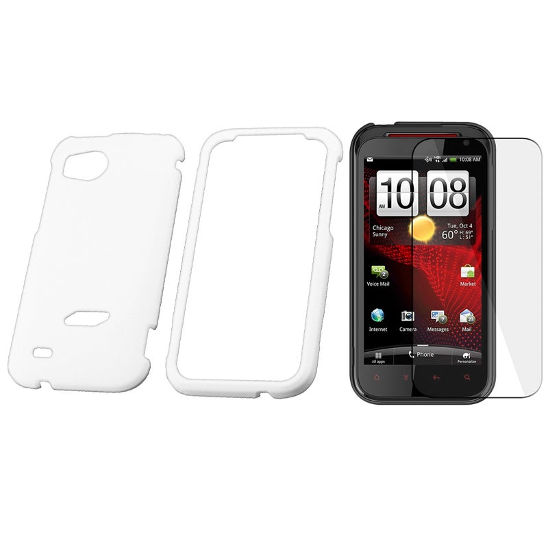 Black Rubber Case/ LCD Screen Protector for HTC Vigor/ Rezound