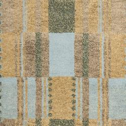 Hand-knotted Selaro Grids Brown/ Blue Wool Rug (2'3 x 9'6)