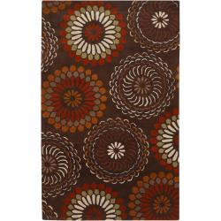 Hand-tufted Contemporary Brown Circles Canton New Zealand Wool Abstract Rug (9' x 13')