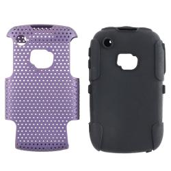 Black Skin/Purple Meshed Hybrid Case for BlackBerry Curve 8520/ 9300